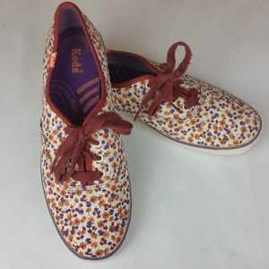 Keds Champion LaceUp Floral Maroon Sneaker 7.5